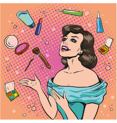 Woman and scattered makeup vector