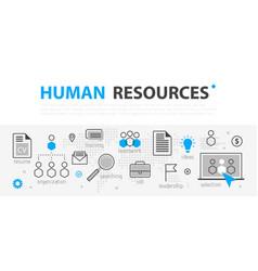 Human resources web banner concept outline line vector