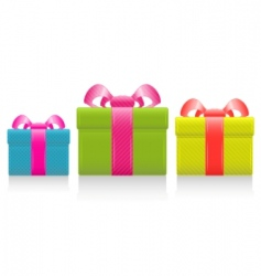 Gift box with silk bow vector
