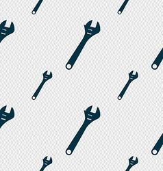 Wrench icon sign seamless pattern with geometric vector