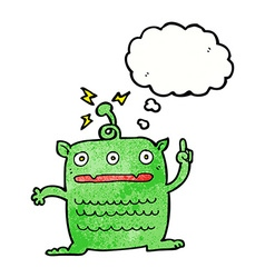 Cartoon weird little alien with thought bubble vector