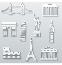 World landmarks abstract flat paper icons set vector