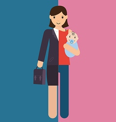 Businesswoman and mother career and motherhood vector