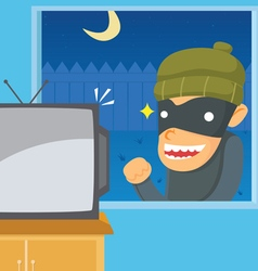 Thief want to steal television vector