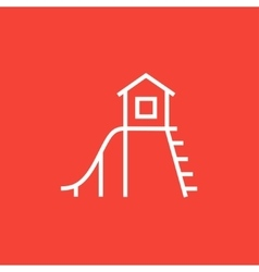 Playhouse with slide line icon vector