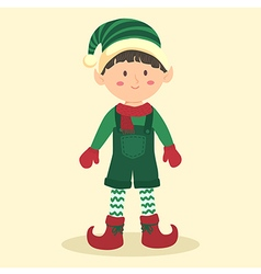 Christmas elf boy using jumpsuit vector