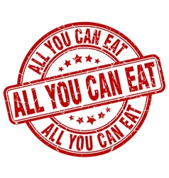 All you can eat red grunge round vintage rubber vector