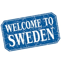Welcome to sweden blue square grunge stamp vector