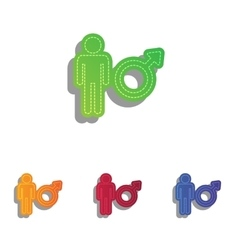 Male sign  colorfull applique icons vector