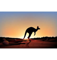 A sunset with a kangaroo vector image