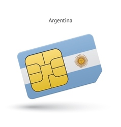 Argentina mobile phone sim card with flag vector