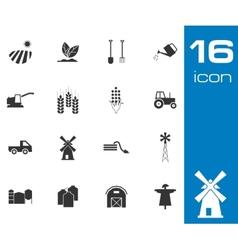 Black farming icons set on white background vector