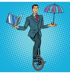 Businessman on unicycle business balance vector