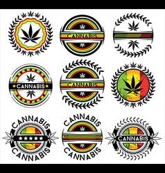 Cannabis marijuana hemp leaf symbol jamaican color vector