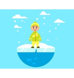 Child walking on ice vector