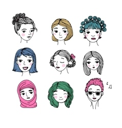 Different faces Hand drawing isolated objects vector image