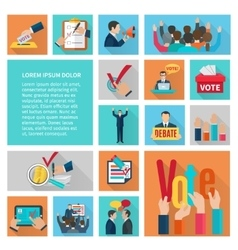Elections flat icons set vector