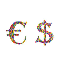 euro dollar icon people vector image