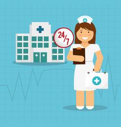Happy nurse work medical suitcase and clipboard vector