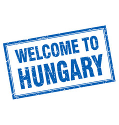 Hungary blue square grunge welcome isolated stamp vector