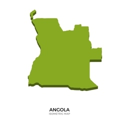 Isometric map of Angola detailed vector image