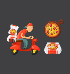 italian cook pizza delivery boy vector image vector image