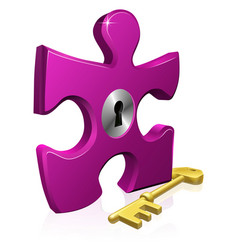 Lock and key jigsaw piece vector