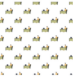 Man sitting at a computer desk pattern vector