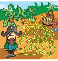 Maze game - pirate try to find treasure box vector