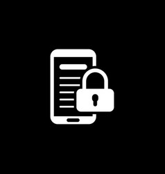 Mobile security icon flat design vector