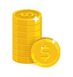 piles gold dollars isolated cartoon icon vector image vector image