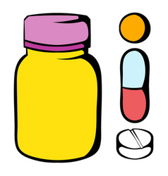 Pills in a bottle icon icon cartoon vector