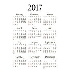 pocket 2017 year calendar vector image vector image