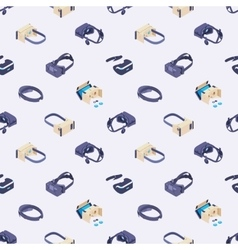 Seamless pattern with the virtual reality headsets vector