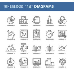 set of thin line flat icons diagrams vector image vector image