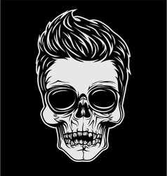 Skull with stylish hair vector