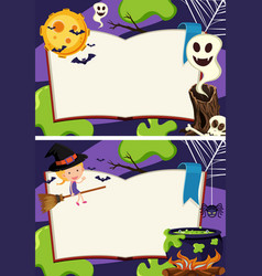 Two border templates with halloween night vector