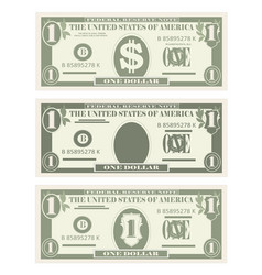 Usa banking currency cash symbol 1 dollar bill vector