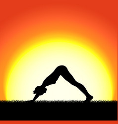 yoga mukhaasana pose black silhouette on sunset vector image