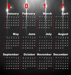 2017 calendar on night star abstract background vector