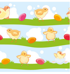 Easter seamless pattern with cute cartoon chickens vector