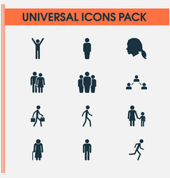 People icons set collection of family running vector