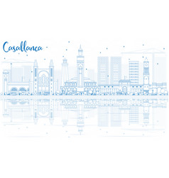 outline casablanca skyline with blue buildings vector image