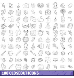 100 closeout icons set outline style vector