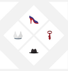 Flat icon clothes set of panama heeled shoe vector