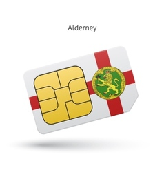 Alderney mobile phone sim card with flag vector
