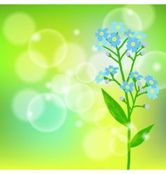 Card with forget me not flower on sun light vector