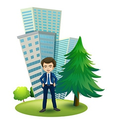 A businessman outside the office vector