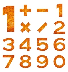 Numbers set orange lava vector