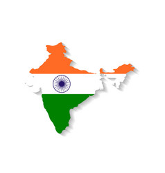 India flag map with shadow effect vector